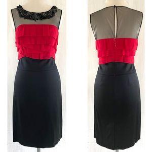BCBGMaxAzria Dresses - BCBG Beaded Mesh Red Silk +  Black Stretch Dress